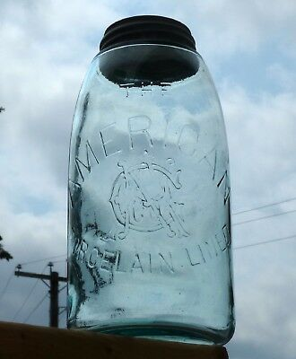Antique large size AMERICAN PORCELAIN LINED NAGCo. fruit canning jar FREE SHIP!