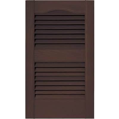 12 in. Vinyl Louvered Shutters in Federal Brown - Set of 2 [ID 806222]