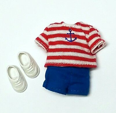 Kelly Tommy Doll clothes Nautical Outfit Striped Top Blue Shorts + Shoes