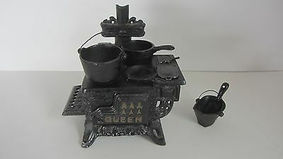 """Cast Iron Miniature """"queen"""" Cook Stove Set With Accessories."""