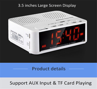 Home Stereo Alarm Clock Subwoofer Wireless Speaker With LED Time Display