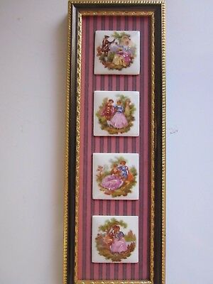 4 Limoges Miniatures In A Frame/ Plague Excellent Condition