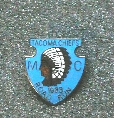 Vintage Motorcycle Pin - Tacoma Chiefs Road Run 1983 - Screw down back