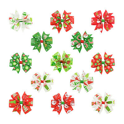 12pcs Christmas Style Handmade Bow Hair Clips Hairdress Girls XMAS Gift