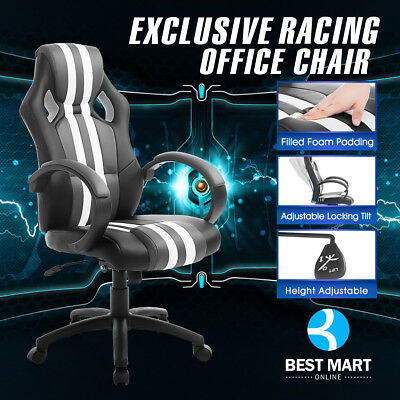 Executive Race Office Chair PU Leather Swivel Computer Desk Seat High Back Grey