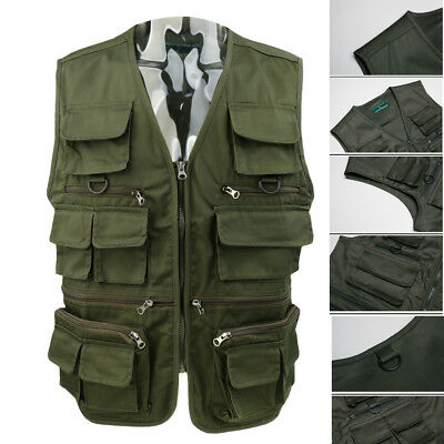 16 Pockets Fishing Vest Men Safari Sport Photo Hunting Waistcoat with D Ring
