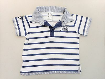 Baby boys Size 0 polo shirt short sleeves shabby blue & white stripes coastguard
