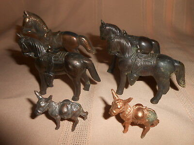 VINTAGE HOLLOW CARNIVAL PRIZE~LOT of 6~Pot Metal Spelter~Copper~Horses~Burros