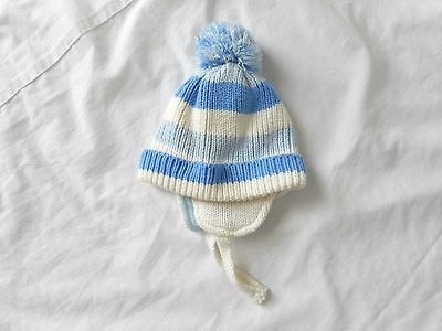 Baby boy knitted blue white aviator trapper beanie lined pom pom 6 - 12 mth Sz 0