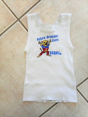 Baby Boys Girls Singlet Future Brisbane Lions Star Size 0 White w Lion Cub