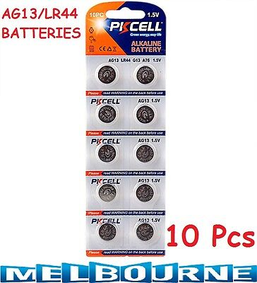 10 Pcs AG13 LR44 A76 L1154 RW82 357 SR44 1.5V Alkaline Coin Cells Button Battery