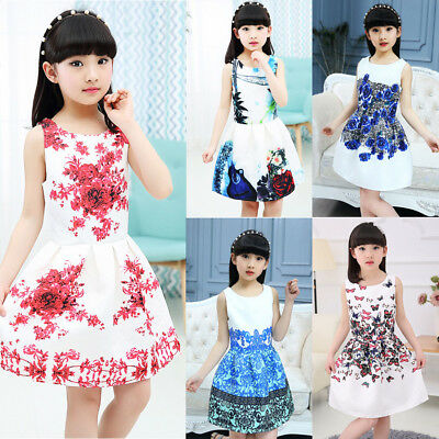 Adorable Kids Girls Floral Pageant Princess Summer Party Dress Sundress 5-12Y