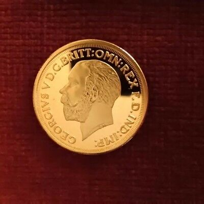 Gold plated George V sovereign (reproduction).
