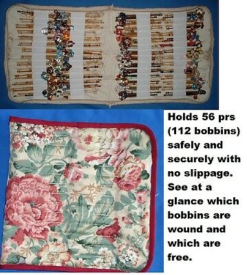 N12 Padded Zip Bobbin Bag Holds 56 Prs Bobbins  Safely & Securely Blue Patterned