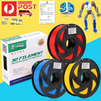 E-DA Aussie 3D Printer Filament 1.75mm PLA ABS 1KG Colours 340M 400M Drawing OZ