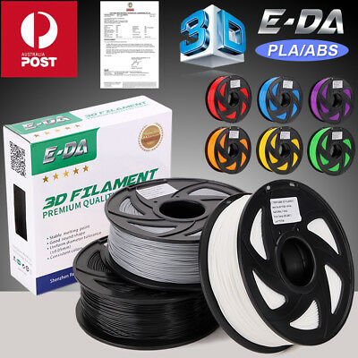 E-DA 3D Printer Filament 1.75mm PLA ABS 1KG/Roll Ten Colours 340M 400M Aussie OZ