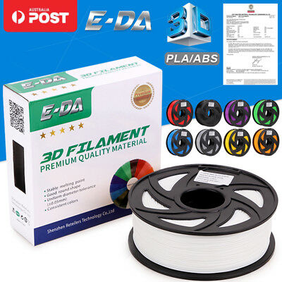 E-DA Aussie 3D Printer Filament 1.75mm PLA ABS 1KG Colours 340M 400M Engineer OZ