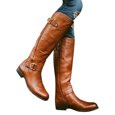 Womens Leather Boot Flat Heel Thigh High Over The Knee Biker Boots Shoes Size