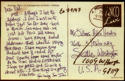 Jimi Hendrix Repro 1966 Signed Germany Postcard To His Father Al . Experience