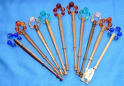 A. 5 Prs (10) Assorted Turned Wood Lace Bobbins Spangled With Quality Beads