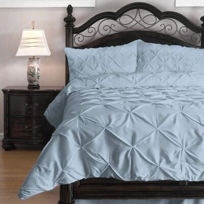 Full Queen Cal King Bed Solid Light Blue Pintuck Pleat 3pc Comforter Set Bedding
