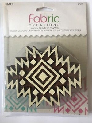 Plaid Fabric Creations Block Printing Stamps Aztec Tile 27208 New/Sealed