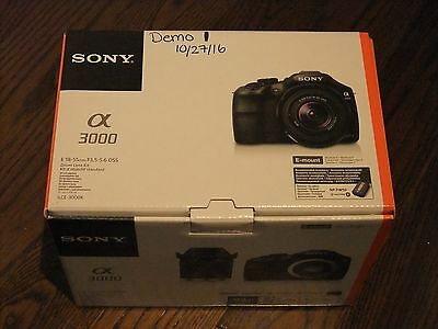 Unused Demo Sony Alpha a3000 Black 20.1MP Digital Camera with E OSS 18-55mm Lens