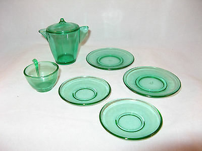 Vintage Akro Agate Stippled Band 7 Piece Childs Green Glass Tea Coffee Set Ex Co