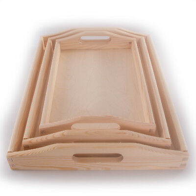 Wooden Serving Trays With Handles /3 Sizes / Unpainted Pinewood /Decoupage Craft