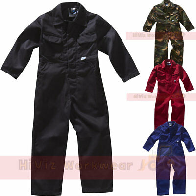 Childrens Kids Touch Fastener Front Coverall Work Boilersuit Boys Girls School