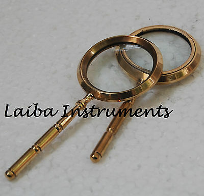 Antique-Vintage-Brass-Magnifier-Nautical-Glass-With--Brass Handle Deco-Gift