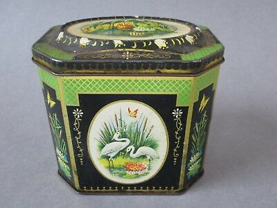 A Vintage Tin Metal Tea Caddy with Herons / Stalks Birds Catching Fish