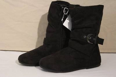 NEW Girls Black Slouch Boots Size 12 Slip On Zip Winter Wrap Shoes Fashion Dress
