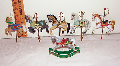 6 assorted CAROUSEL & ROCKING HORSE Christmas ornaments