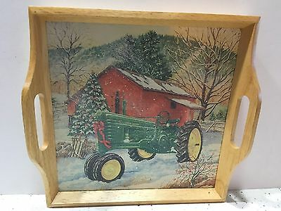 John Deere Handled Tray I'll Be Home For Christmas Tractor Barn Winter Scene
