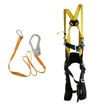 Adjustable Full Body Harness Lanyard Safety Rappelling Fall Protection Equip