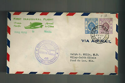 1937 Hong Kong to Wisconsin USA First Flight Cover FFC  Pan American Clipper