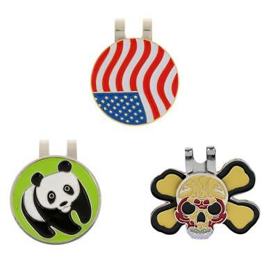 Set of 3 Pieces Magnetic Hat Clip On Golf Ball Marker Fit for Golf Cap Visor