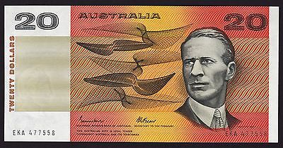 20 Dollars $20 Australian Banknote 1985 Johnston Fraser R409b Gothic Serial