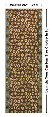 Antibacterial Custom Size Green Pet Paw Non Skid Runner Rug Pick Your Own Size