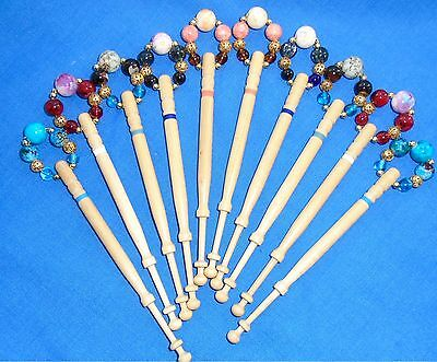5 PRS (10) LEMON WOOD LACE BOBBINS SPANGLED QUALITY BEADS    Ref H42