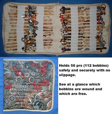 No4 Padded Zip Bobbin Bag Holds 56 Prs Bobbins  Safely & Securely Blue Patterned