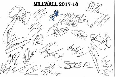 Millwall 2017-18 SIGNED Squad Sheet #22 Players PRINT