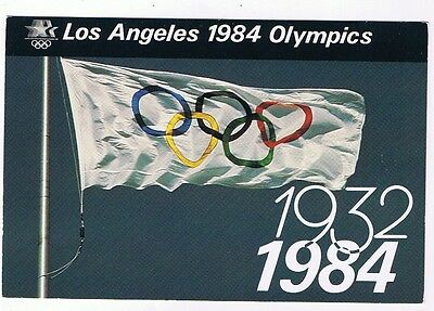 Olympic Rings Flag - 1984 Los Angeles Olympics Postcard # 40Pz 0022