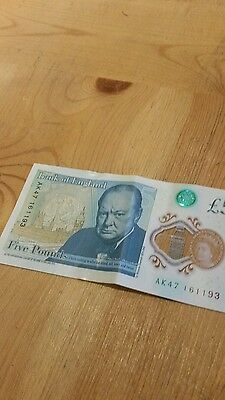 AK47 Early First Run Serial # Brand New Uncirculated Polymer £5 Five Pound Note