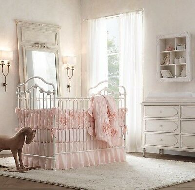 NWT Restoration Hardware Baby & Child Gathered Voile Crib Skirt In Petal Pink