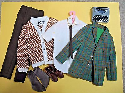 Vintage Ken 1965 College Student Outfit #1416 W/ HTF Typewriter + Extra Sweater