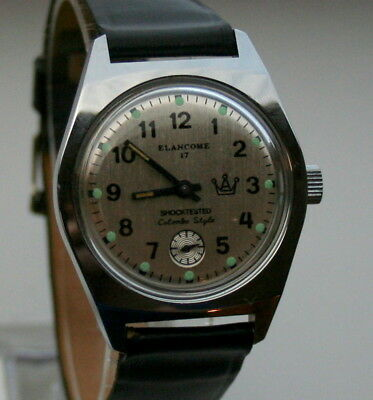 NOS New Elancome 17 Colombo Sub Second Dial Mechanical Mens Watch 1970s Manual