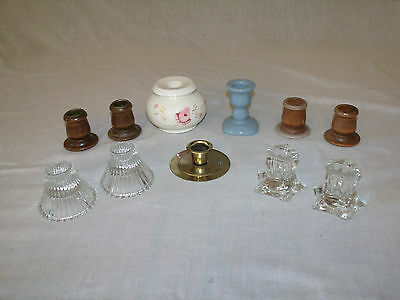 (11) VINTAGE Wood, Brass, Hand Painted Ceramic & Glass CANDLESTICK HOLDERS