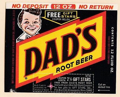 "1960s Dad's Root Beer Label for 12 oz bottles 3.5"" x 3"""